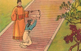 girl kneeing on stairs offering scroll
