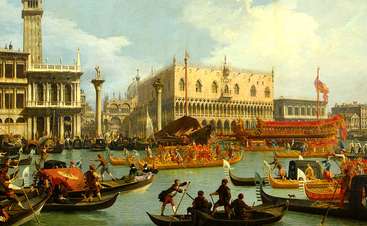 painting of Venice canal and boats