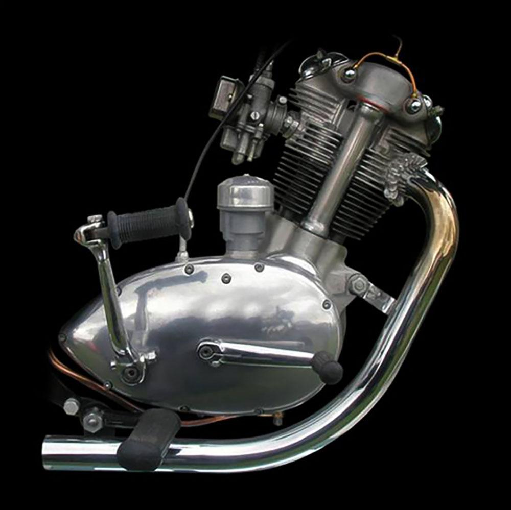 Closeup image of Triumph Tiger Cub motorcycle engine