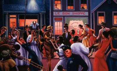 jazz musicians in street - paintitng
