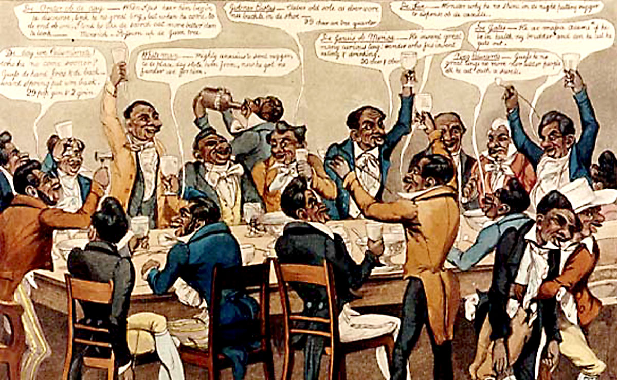 Cartoon depicting aristocrats drinking and cheering